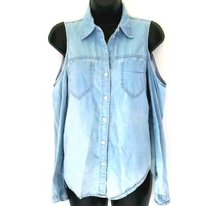 🔥Forever 21 Cold Shoulders Blue Top sz XS